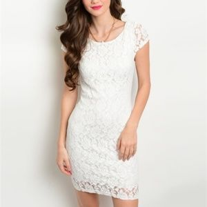 🆕 White lace sexy open back summer dress
